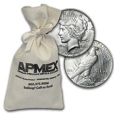 Peace Silver Dollars - $100 Face Value Bag - Random Years - Almost Uncirculated