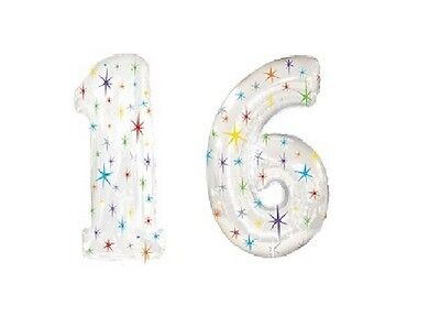 "Sweet Sixteen 16 16th Silver Sparkle Birthday Party Numbers 40"" Mylar Balloons"