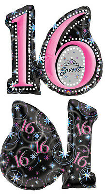 "SWEET Sixteen #16 16 16th Black and Pink 26"" Happy Birthday Party Mylar Balloon"