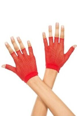 FISHNET RED GLOVES  Costume Gothic Punk Burlesque Cocktail
