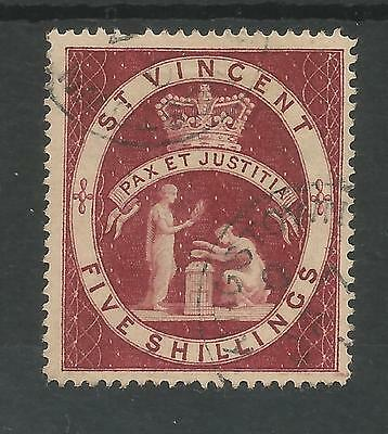 St Vincent Sg53 The 1888 Qv 5/- Lake Fine Used Cat £55