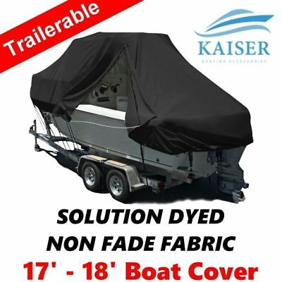 New Design with Zipper 600D 5.2-5.5m 17-18ft T-Top Jumbo Boat Cover Black