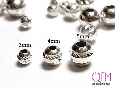 80 pcs Shiny Spacers Beads Diamond cut Sterling Silver, available in 3 sizes
