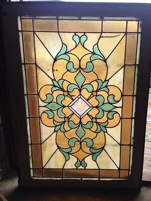 "Sg 56 Antique Stained-Glass Window Beveled Glass  Center 29"" X 40.5"""