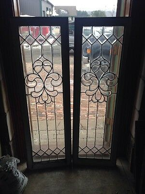 """Sg 57 One Pair Antique Matching Beveled Glass Sidelights 18.25"""" X 58"""""""