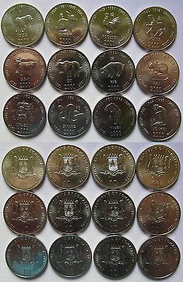 "Somalia 2000 Set of 12 coins 10 shillings ""Asian Astrology Serie"" 12PCS UNC"