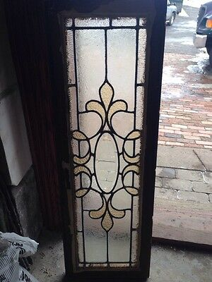 Sg 68 Small Antique Transom Stained Glass  Window 12 X 36