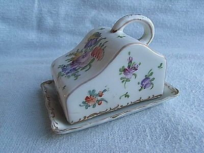 DRESDEN PORCELAIN SMALL CHEESE DISH & COVER PAINTED WITH FLOWERS