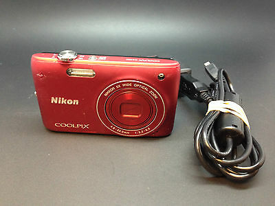 Nikon Coolpix S4100 Digital Camera, 5x Optical Zoom, Red