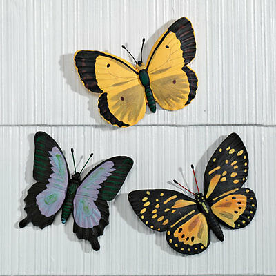 Set of 3 wall tree hanging indoor outdoor colorful butterfly garden plaques new