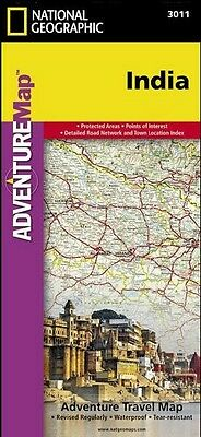 India Adventure Travel Map National Geographic Waterproof