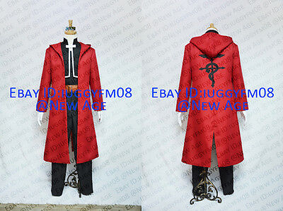 Fullmetal Alchemist Edward Elric Cosplay Costume Red Coat Jacket Belt Trousers
