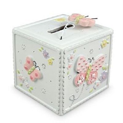 Newborn Baby Girls White Pink Butterfliy Money Box  Girls ..Christening .. Birth