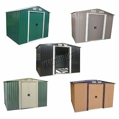 FoxHunter Garden Shed Strong Metal Apex Roof Outdoor Storage Free Foundation New