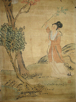 Chinese Hand Painting Scroll beauty by Chen Mei陈枚 美女