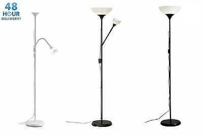 IKEA Tall Floor Standing Lamp Black & White Reading Light Uplighter NOT
