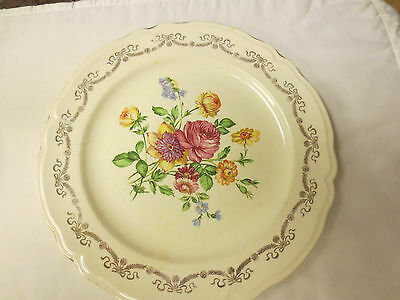 """Older Edwin M Knowles Sem-Vitreous China 10"""" Plate-Floral w/Gold Garland Trim"""