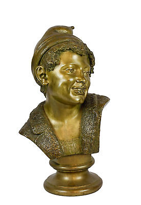 19th C. Bronze Large Bust of Boy by Seraphin Denecheau- Signed and Dated 1867