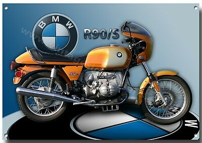 Lge A3 Size Bmw R90/s Motorcycle Enamelled Metal Sign,1970's Bmw Motorcycle