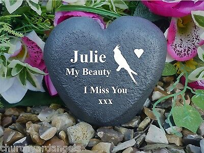 Personalised Pet Memorial Heart (Stone Effect) Weatherproof - Bird Designs