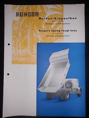 Prospekt Sales Brochure Hunger Mulden-Kippaufbau LKW H6 Hinterkipper Technisches