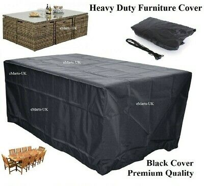 Waterproof Rectangle Rattan Cube Cover 6 8 10 12 Seater Outdoor Furniture