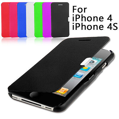 Hot Ultra Slim Flip Leather Magnetic Cover For Apple iPhone 4S 4 Case