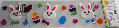 Easter Gel Window Stick-Ons  Bunny Rabbit Faces With  Colorful Easter Eggs