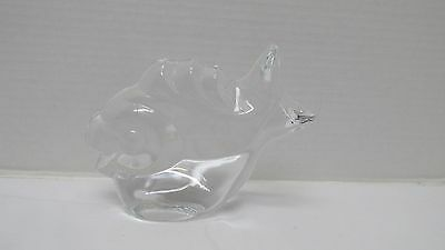 RARE Vintage Signed OF Orrefors Sweden Art Glass Fish Bookend Paperweight