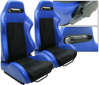 New 1 Pair Blue Leather & Black Suede Racing Seats All Ford *****