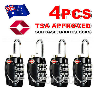 4x TSA Security 4 Combination Travel Suitcase Luggage Bag Code Lock Padlock