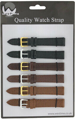 6 x Wholesale Job Lot Regular Lizard Grain Leather Watch Straps 10mm to 22mm