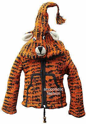 Tiger Print Superwarm Fully fleece lined pixie hooded Woolen kids/child  jacket