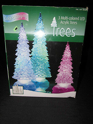3 Trees LED Acrylic Color Changing Lighted Christmas Mantle Table Decoration