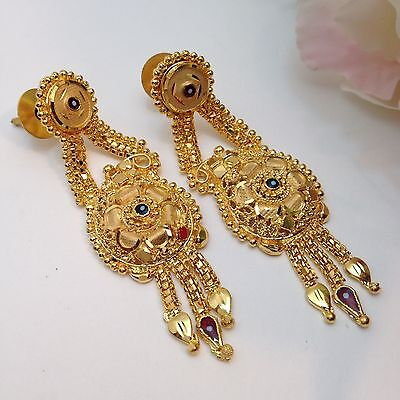 "Indian Party Wear 22ct Gold Plated Earrings Length(2.2"" Inches)"