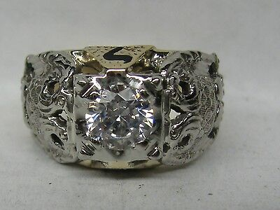 VINTAGE 10K SOLID GOLD 1.00 CT. 32ND DEGREE MASONIC RING !!!
