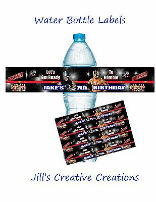WWE Water Bottle Labels,Wrestling, Birthday, Water Bottle Labels
