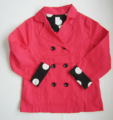 NWT Gymboree Girls Pink Trench Coat Pink Size M 7-8 L 10-12 100% Brushed Cotton