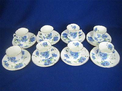 Hammersley Fine Bone China BLUE CORNFLOWERS Set of 8 Demitasse Cups & Saucers