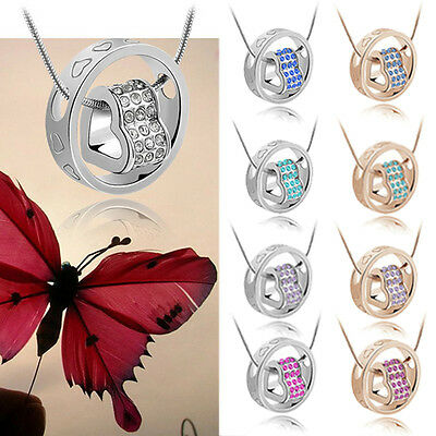 Lovely Fashion Crystal Pendant Love in Circle Heart Design Necklace 10 Colors