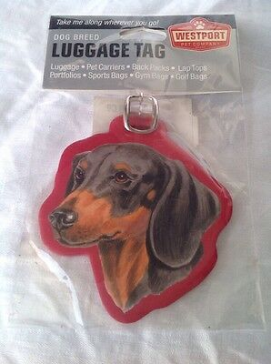"Dachshund Black Tan  Luggage Tags 4"" x 4"" Laminated Pet Carrier Dog Lovers Gifts"