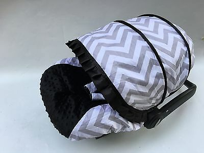 baby car seat cover canopy cotton set fit most seat flowers hot/pink