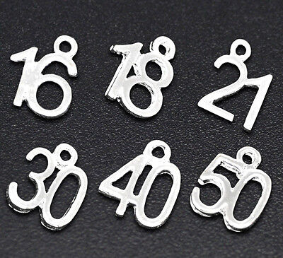 6 MIXED SILVER PLATE NUMBER CHARMS/PENDANT~ Birthday~Wine Glass Charms (N11) UK