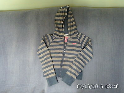 Girls 12-13 Years - Blue & Grey Striped Cropped Hoodie