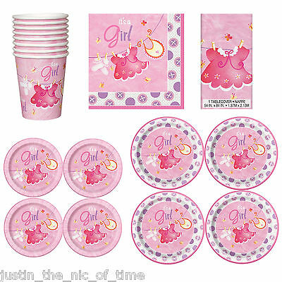 Baby Shower GIRLS Party Tableware Supplies Girl Napkins Plates Cups Tablecover