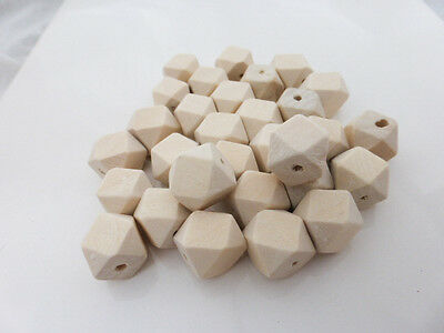20 x Small Geometric Faceted Wooden Beads 12mm Natural, Craft Supplies, Beads