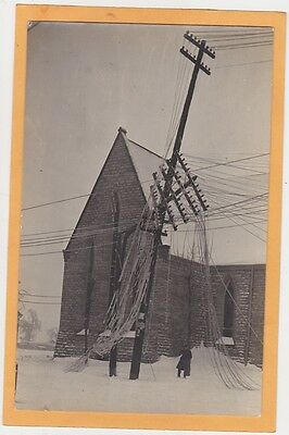 Real Photo Postcard RPPC Electrical Wires in Front of Church Downed by Snow