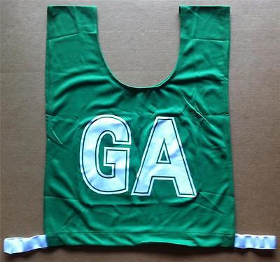Netball Bibs - Brand New - Mock Mesh - Junior Size - Green / White letters
