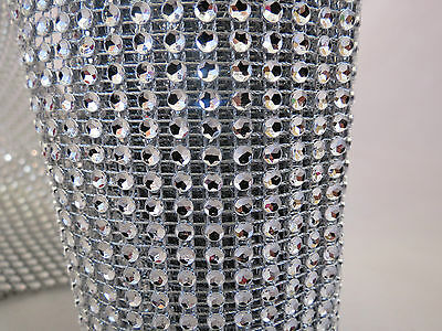 Silver Diamond Rhinestone Mesh Ribbon Crystal Wrap