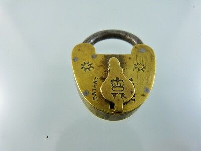 VICTORIAN SMALL BRASS LOCK NO KEY OPEN POSITION FOR DOG COLLAR VICTOR with Crown